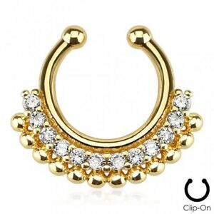 False Piercing Septum Golden Gem