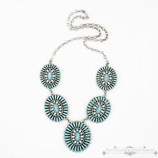 Antique Vintage Native Zuni Sterling Silver Pawn Turquoise Cluster Necklace
