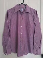 EUC! Izod No Iron button down, pink, purple, white striped shirt. Size large