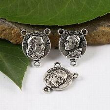 20pcs Tibetan silver round rim charm findings h1621