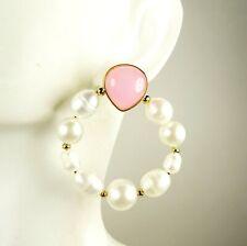 KATE SPADE Pearl Drops Gold Plated Pink Glass & FW Pearls Hoop Earrings