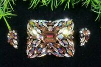 Vintage SHERMAN signed Gorgeous Brooch & Earrings Set Topaz AB Rhinestones Rare