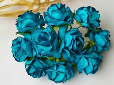 50 D.Turquoise Rose Flower Mulberry Paper Scrapbooking Wedding Crafts 3cm TQ3