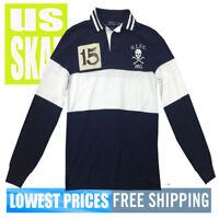 Polo Ralph Lauren Men's NWT RLFC Skull & Bones Stripe Custom Slim Fit LS Shirt
