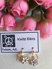 Glodtone Small White 6 Pedal Flower Dangle Earrings