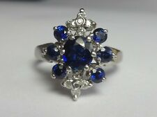 18CT WHITE GOLD SAPPHIRE AND DIAMOND ABSTRACT CLUSTER RING