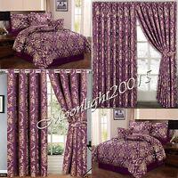 7 Piece Jacquard  Bedspread Comforter Set + Ring Top & Pencil Pleat Curtains