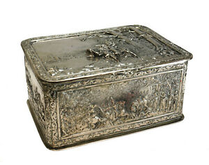 Continental Silverplate Hand Chased Box, 19th Century. Battle Scenes
