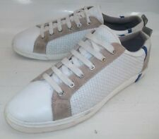 Zara Man Mens Shoes Sneakers EU 43 US 10 White Woven Leather Beige Suede Lace