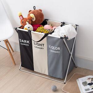 3 Compartment Laundry Basket Clothes Hamper Storage Bin Basket Dark Light Color