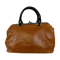 Carlo Pazolini Cognac Leather Doctor Bag Black Top Handles Hinged Weekend Purse