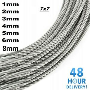 Galvanised Steel Wire Rope Metal Cable Rigging 7 x 7 1mm 2mm 3mm 4mm 5mm 6mm 8mm