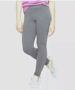 Justice Girls Solid Gray Full Length Leggings Size 10 Excellent Condition