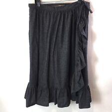 Vtg 80s Womens Prairie Skirt Black Denim Wrap Ruffle Cowgirl Boho Western Sz 40