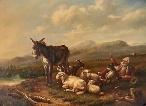 Eugene Verboeckhoven (1798-1881) Manner of. Oil Painting Farmer & Animals