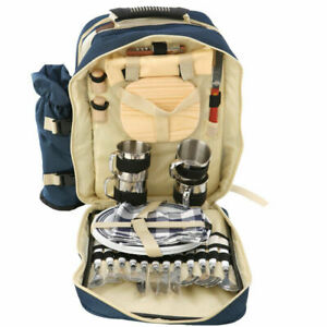 4 Persons Picnic Backpack with Cooler Bag+Insulated bottle Holder Tableware UK