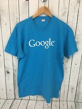 GOOGLE American Apparel T Shirt Neon Blue Size Large S2