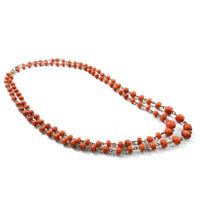 2 Korallenketten 585 Gold & italienische Lachskoralle um 1930 Coral necklace Set