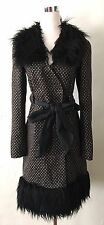 Betsey Johnson Dress Coat EDWARDIAN Brocade Black Faux Fur Trim Jacket Sz 2 XS