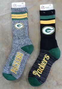 2 Pack NFL Green Bay Packers Socks Gift Set Black Script Gray Marbled Large