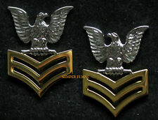 2 TWO 1ST CLASS PETTY OFFICER GOOD CONDUCT COAT EPAULET PIN UP US NAVY E5 USS