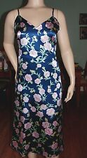 BEAUTIFUL LONG FLORAL SATIN NIGHTGOWN, 4X-BUST 56