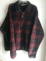 WOOLRICH Men Tartan Plaid Polartec Half Zip Fleece Pullover Made in USA Sz Large