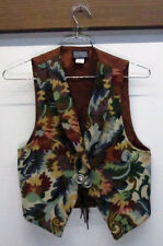 Roughrider Circle T Western Tapestry Cowboy Embroidered Vest sz S Brocade USA