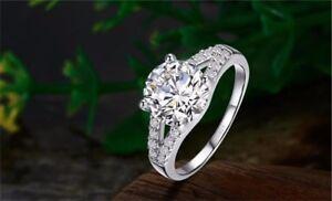 2 CT DIAMOND Engagement Wedding Anniversary Bridal Ring .925 Silver  Size 7