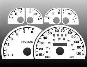 1998-2003 Ford Ranger Explorer Dash Cluster White Face Gauges 98-03