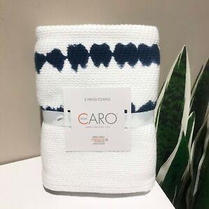 SET OF 2 - New CARO HOME Cotton Hand Towels Indigo Blue Shibori Tie Dye