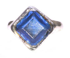 Bejewelled-  Topaz Blue Gem 16.5 Mm & Chrome Metal Hand Ring (Zx226)