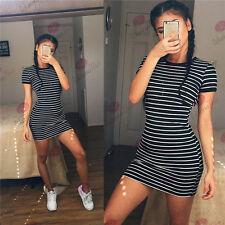 Summer Women Short Sleeve Dress Stripe Bandage Bodycon Evening Party Mini Dress