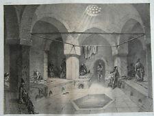 3) lithographie ancienne- Flandin. XIXe intérieur de bain à Tehéran.Perse