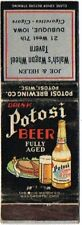 1930s Dubuque Walsh Wisconsin Potosi Beer Matchcover TavernTrove