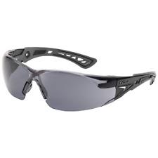 Bolle Rush Plus Safety Glasses Black/Gray Temples Smoke Anti-Fog Lens