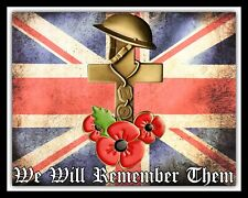 Ci ricorderemo loro REMEMBRANCE Poppy Union Jack placca di metallo tin sign R173