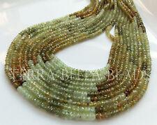 "13"" shaded GROSSULAR GARNET faceted rondelle gem stone beads 3mm - 3.5mm green"