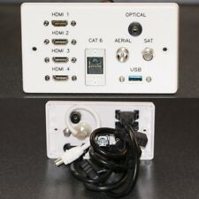 AV Wall Face Plate, 4x HDMI / TV / Sat / USB3 / Optical TOS Audio / Cat6 sockets