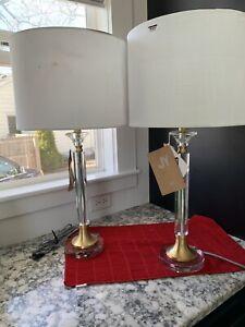 "JONATHAN Y Lighting JYL5039 Mark 1 Light 28"" Tall LED Buffet - Gold.  Set Of 2."
