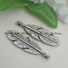 50pcs Alloy Metal Feather Charms Pendants For Jewelry Making DIY 9mmx30mm