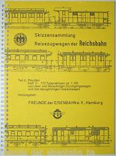 Skizzensammlung DRG-Reisezugwagen: 2- u. 3-achsige Durchgangs- u. Gepäckwagen