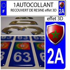 1 sticker plaque immatriculation auto DOMING 3D RESINE  BLASON MAROC DEPA 2A
