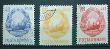 1967 ROMANIA: COAT OF ARMS; SET OF 3 MNH PRE CANCELLED STAMPS WITH GLUE.