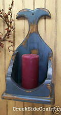Primitive Whale Tail Candle Sconce Box - blue