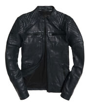 "New Superdry Leather Quilt Racer Jacket Size: S 36"" (91cm) RRP £199.99"