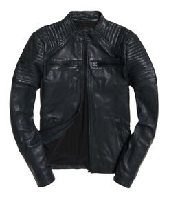 """New Superdry Leather Quilt Racer Jacket Grey Size: S 36"""" (91cm) RRP £199.99"""