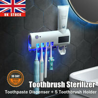 Automatic Toothpaste Dispenser&5 Toothbrush Holder Stand Wall Mounted Bathroom