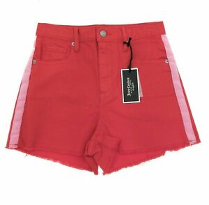 Juicy Couture Juniors Red Denim Shorts with Side Stripe Casual Size 25 MSRP $98