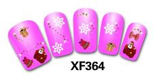 Nail art stickers bijoux d'ongles: Flocons - cadeaux Pères Noël - noeuds